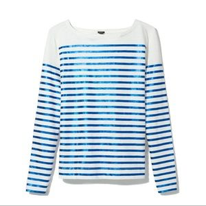 J.Crew Blue Striped Metallic Long Sleeve T-Shirt